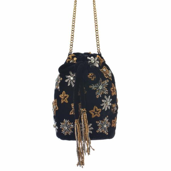 Holiday Stars Bucket Bag - Black