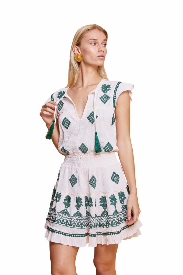 ILEANA DRESS WHITE & EMERALD