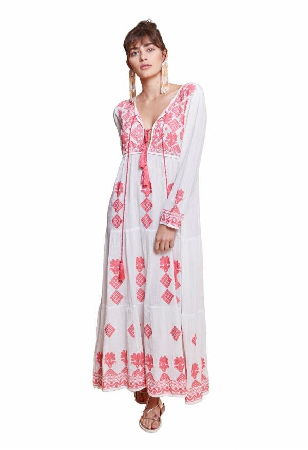 ISADORA LONG TUNIC WHITE & CORAL