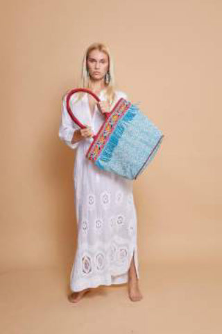 Khari Printed Tote - Light Blue