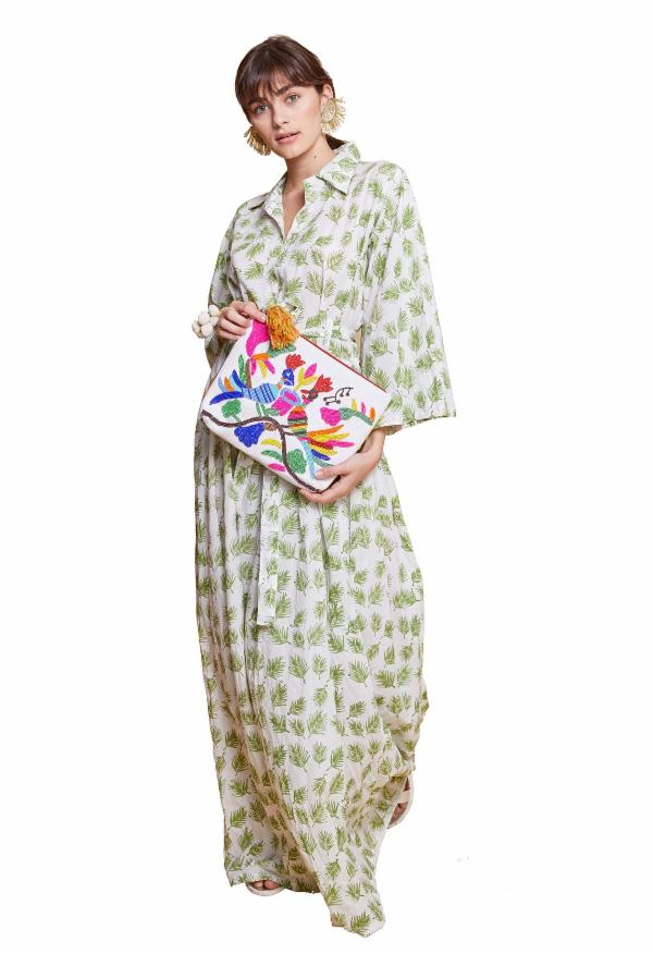 LAUREL LEAF DRESS WHITE & GREEN