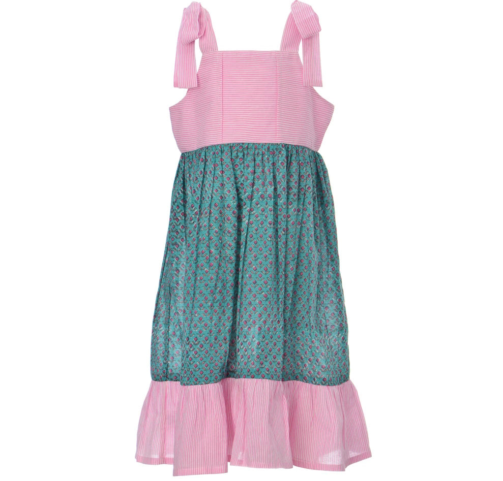 Misha Flower Dress - Green
