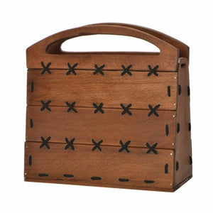 Moira Wooden Bag - Natural Wood / Black
