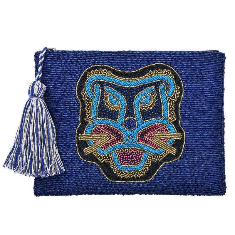 Bali Tiger Beaded Clutch - Blue
