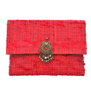 Akinyi Brooch Clutch - Red