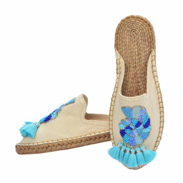 SEA SHELL ESPADRILLES - TURQUOISE