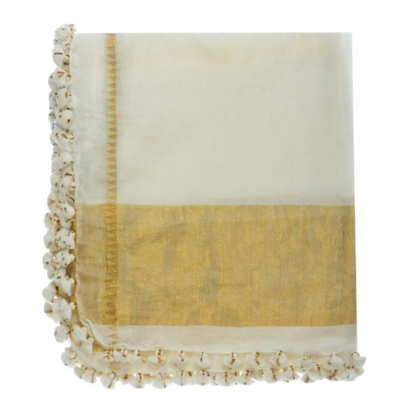 Tenley Shawl - White/Gold
