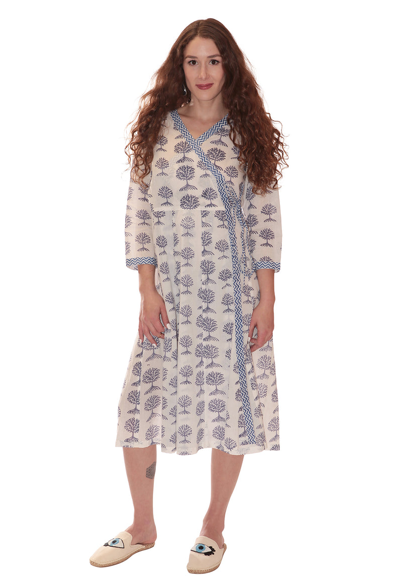 TREE LIFE WRAP DRESS WHITE & PURPLE
