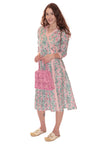 TULERIES WRAP DRESS PINK & GREEN
