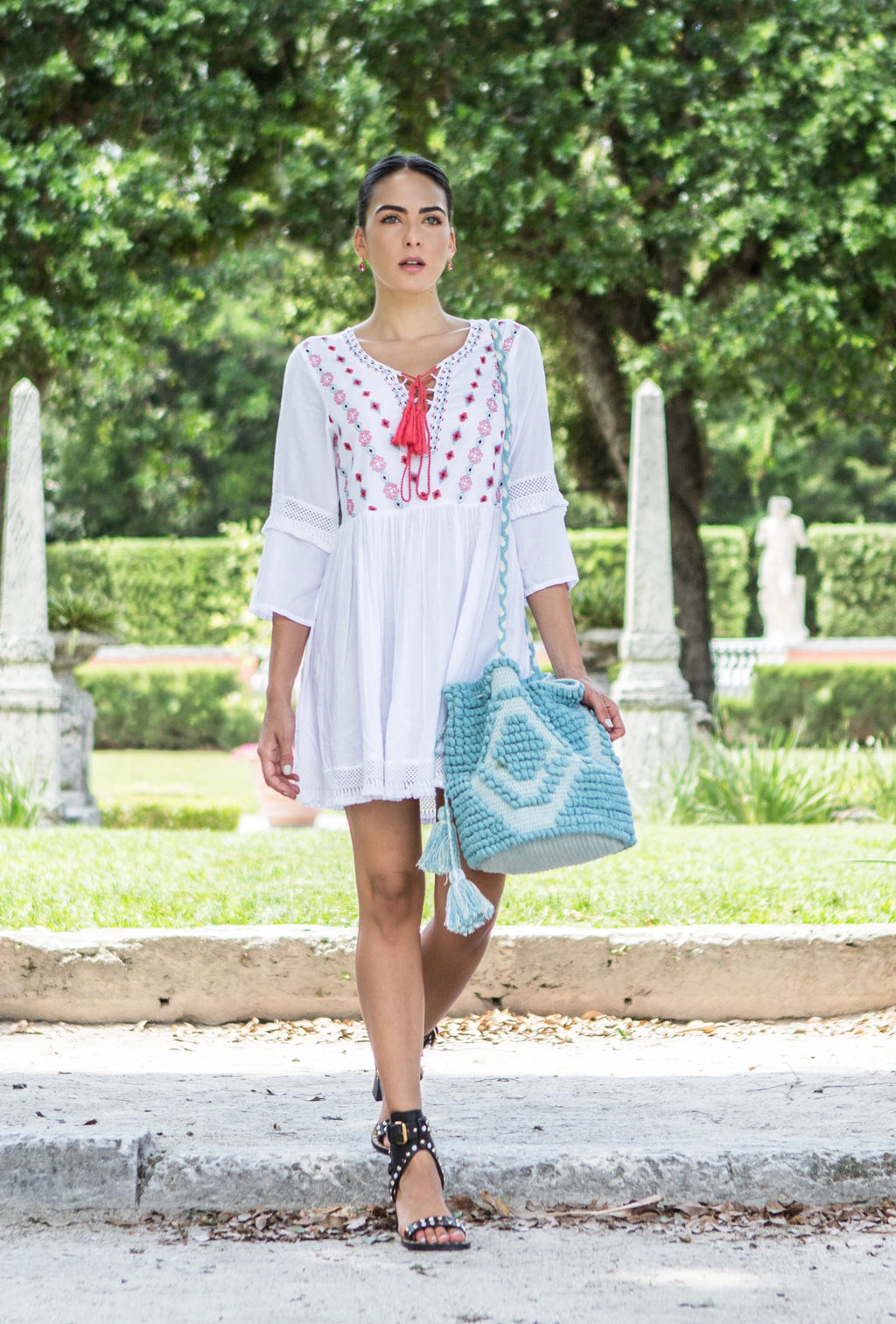 GRACIE TASSEL DRESS WHITE