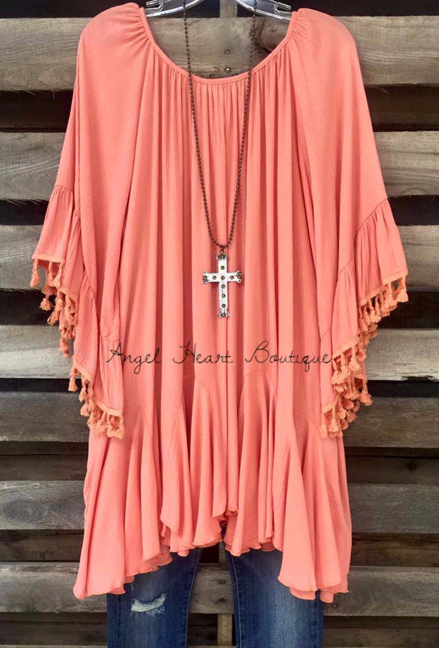 Spice Up Your Life Tunic - Peach - Sassybling - Tunic - Angel Heart Boutique  - 1
