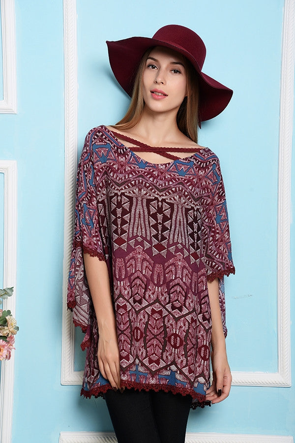 Inca Boho Soul Top - Burgundy - SALE - Angel Heart Boutique - Top - Angel Heart Boutique  - 1