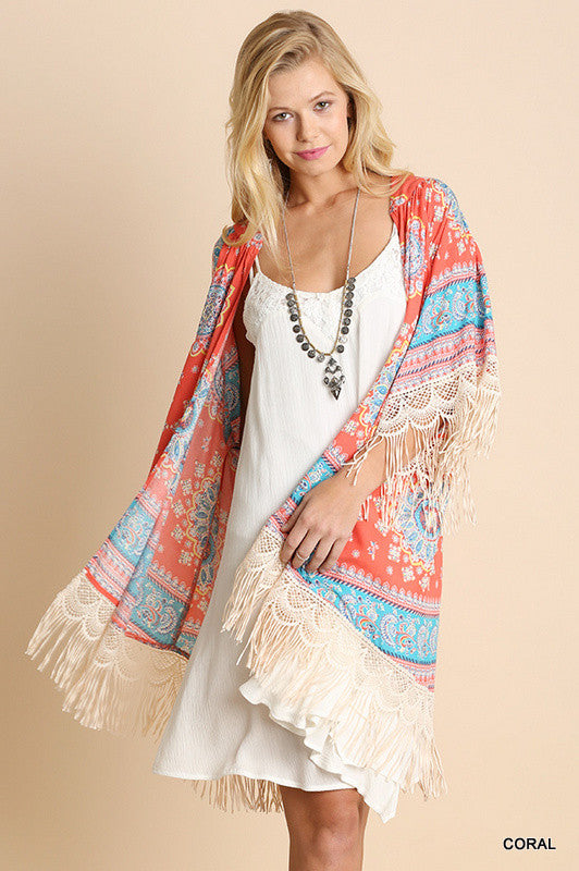 Paisley Sunset Kimono - Coral - Umgee - Cardigan - Angel Heart Boutique  - 2