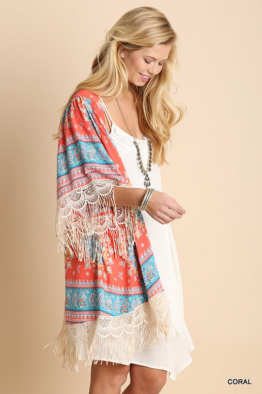 Paisley Sunset Kimono - Coral - Umgee - Cardigan - Angel Heart Boutique  - 3