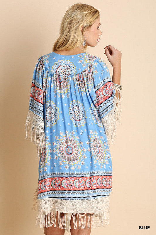 Paisley Sunset Kimono - Blue - Umgee - Cardigan - Angel Heart Boutique  - 7