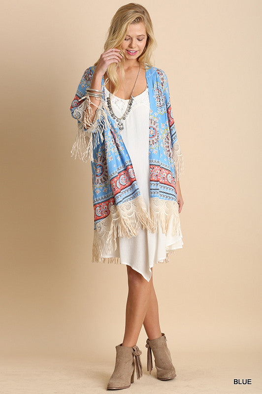 Paisley Sunset Kimono - Blue - Umgee - Cardigan - Angel Heart Boutique  - 6