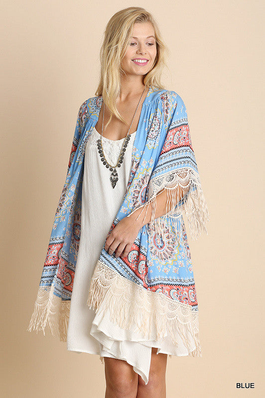 Paisley Sunset Kimono - Blue - Umgee - Cardigan - Angel Heart Boutique  - 5