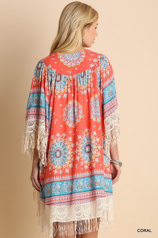 Paisley Sunset Kimono - Coral - Umgee - Cardigan - Angel Heart Boutique  - 4