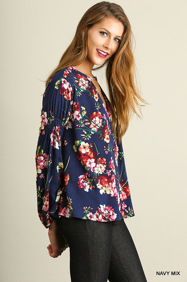 Fall Floral Secret Top - Navy - SALE - Umgee - top - Angel Heart Boutique  - 4
