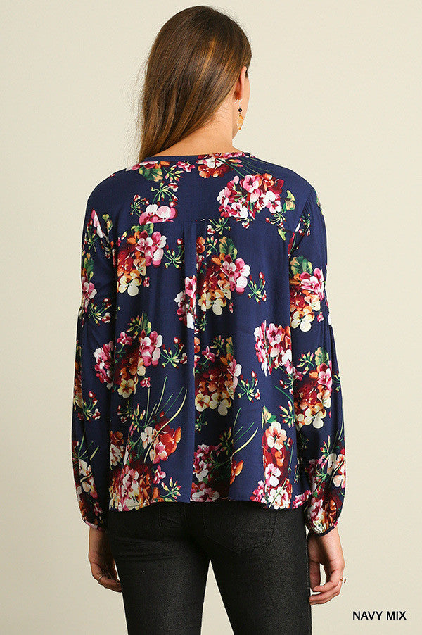Fall Floral Secret Top - Navy - SALE - Umgee - top - Angel Heart Boutique  - 5