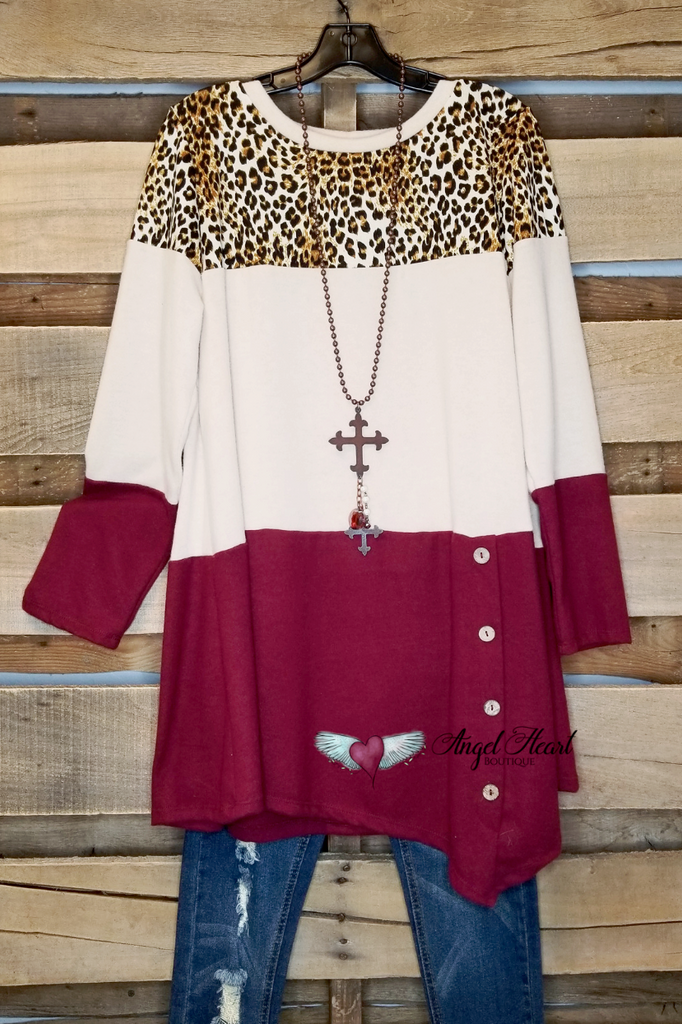 In The Running Top - Leopard/Burgundy - SALE