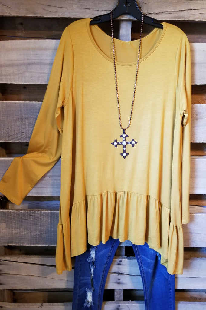Solid Styles Top -Mustard [product type] - Angel Heart Boutique