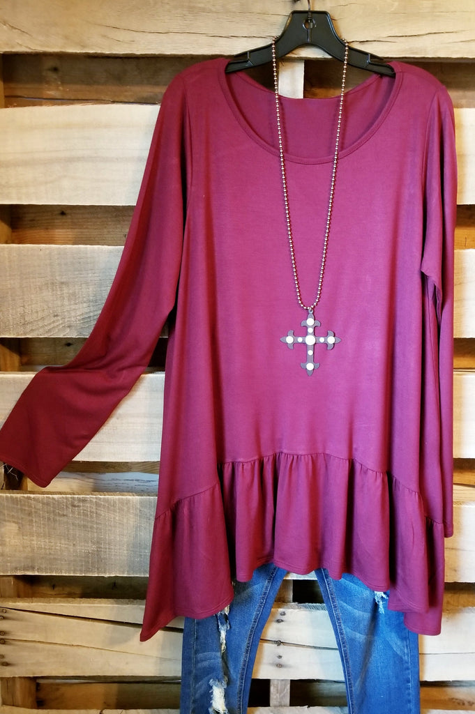 Solid Styles Top - Burgundy [product type] - Angel Heart Boutique