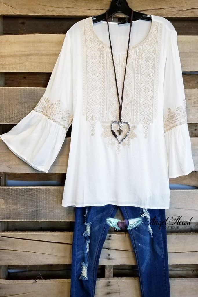 Seems Like Love Embroidery Top - Ivory [product type] - Angel Heart Boutique