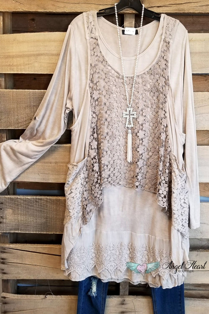 Three Piece Tunic - Sand [product type] - Angel Heart Boutique