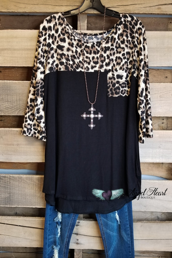 Leopard Solid Top - Black [product type] - Angel Heart Boutique
