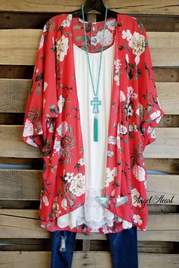 Over The Moon Kimono - Dark Coral [product type] - Angel Heart Boutique