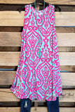 Damask Fairytale Sleeveless Dress - Aqua/Fuschia [product type] - Angel Heart Boutique