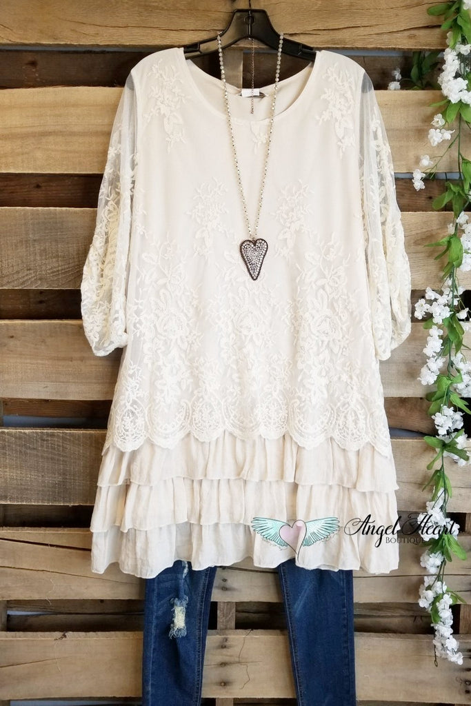 My Nostalgic Feeling Tunic - Beige [product type] - Angel Heart Boutique