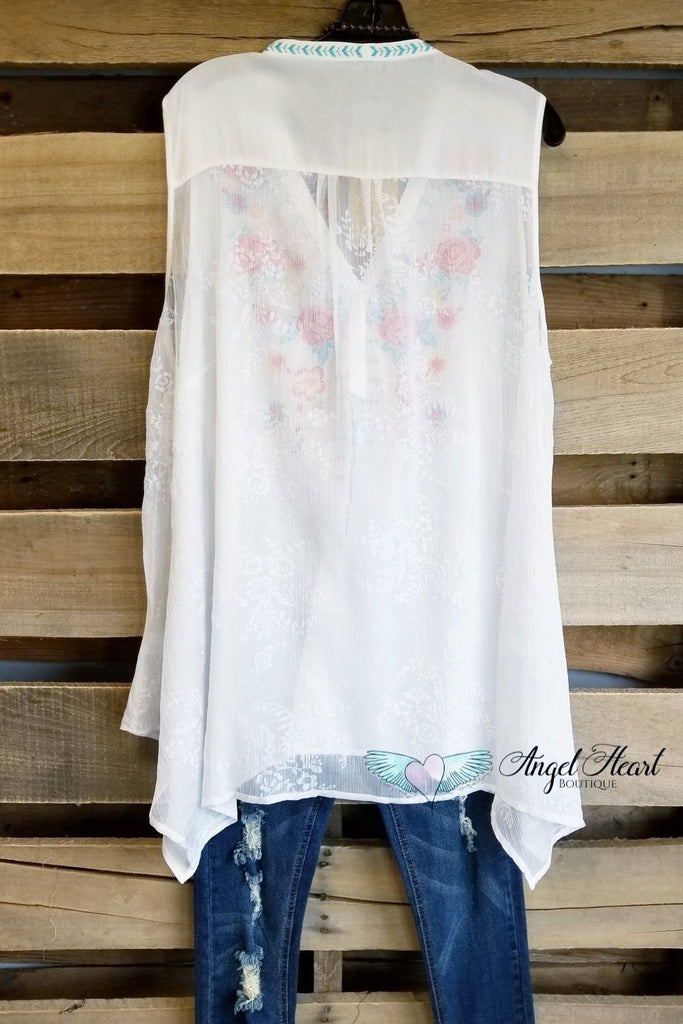 My Beauty Way Sheer Back Top - Ivory - SALE [product type] - Angel Heart Boutique