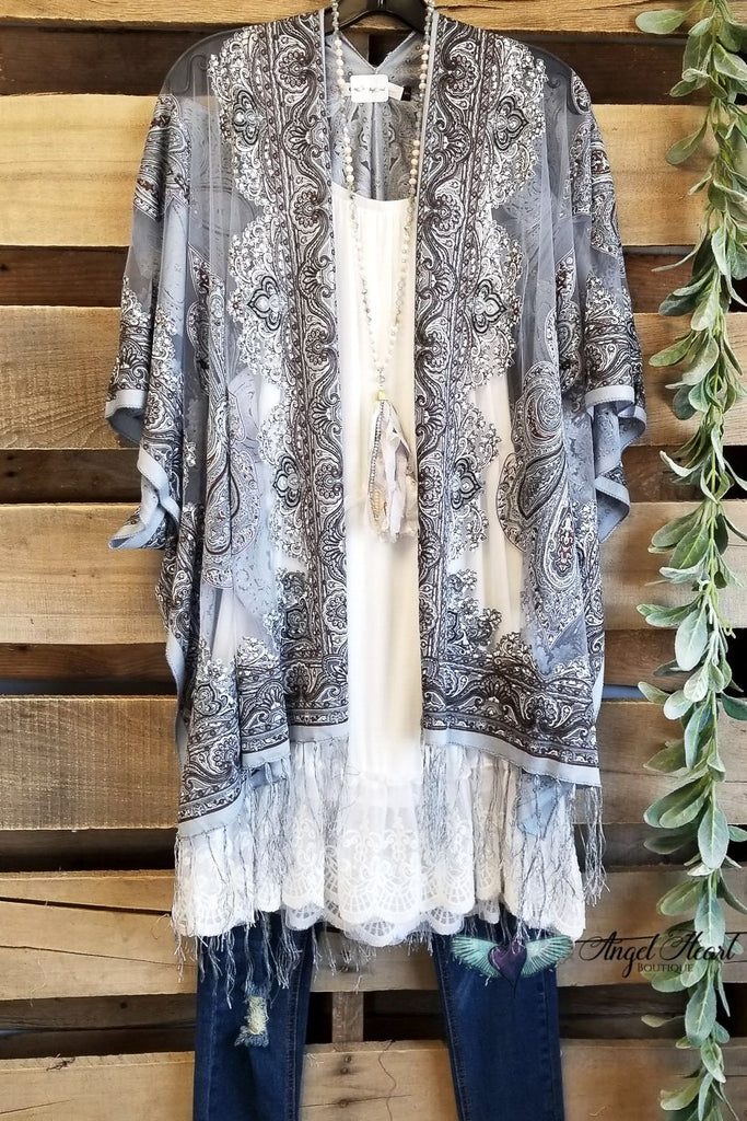 Finding My Balance Kimono - Gray [product type] - Angel Heart Boutique