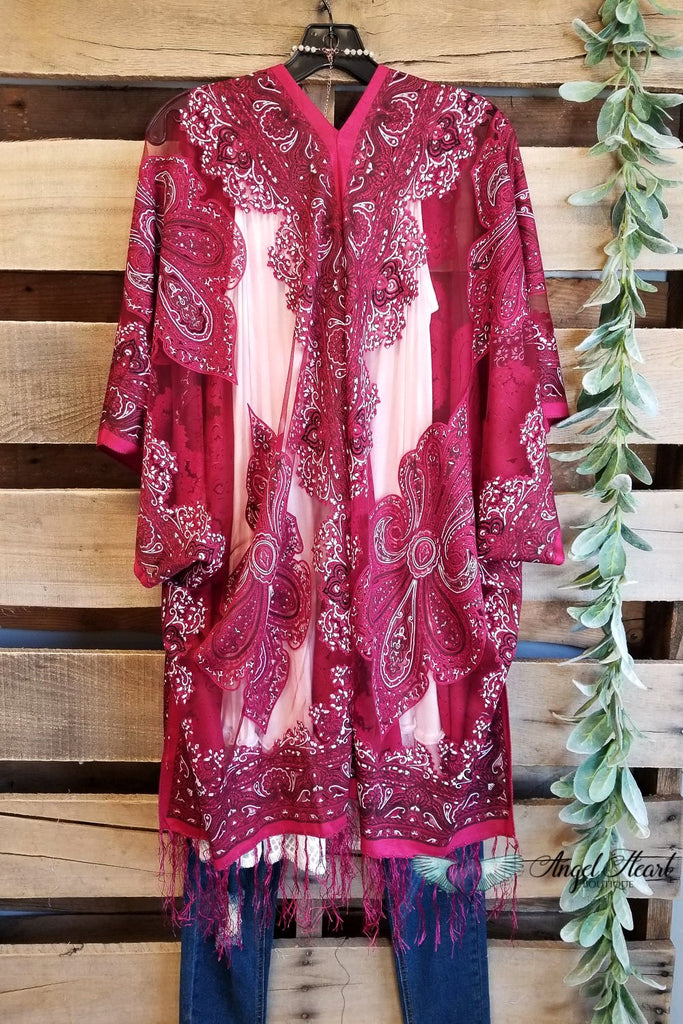 Finding My Balance Kimono - Cranberry [product type] - Angel Heart Boutique