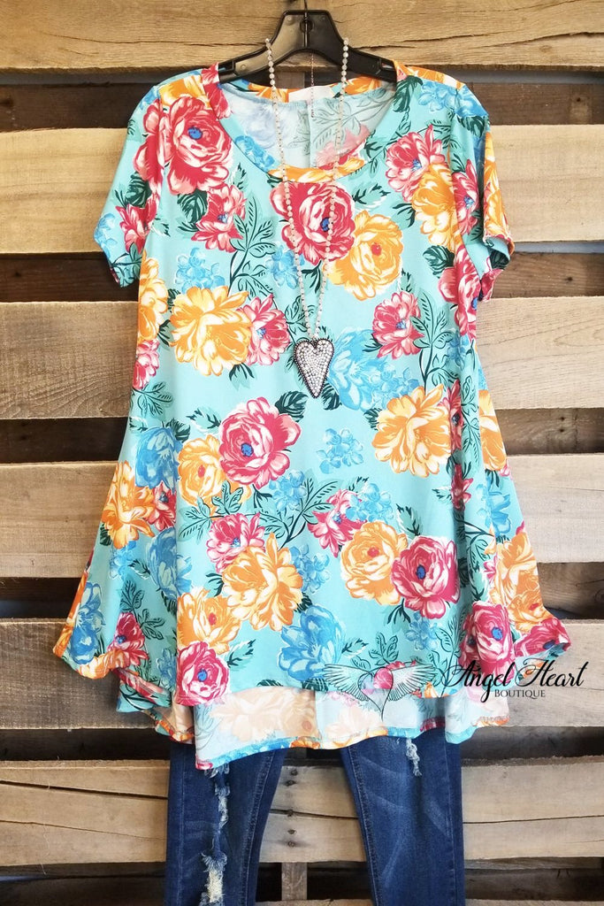 Warm Your Heart Top - Aqua [product type] - Angel Heart Boutique