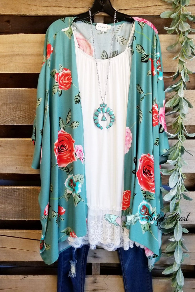 Let's Get Tropical Kimono - Dusty Mint [product type] - Angel Heart Boutique