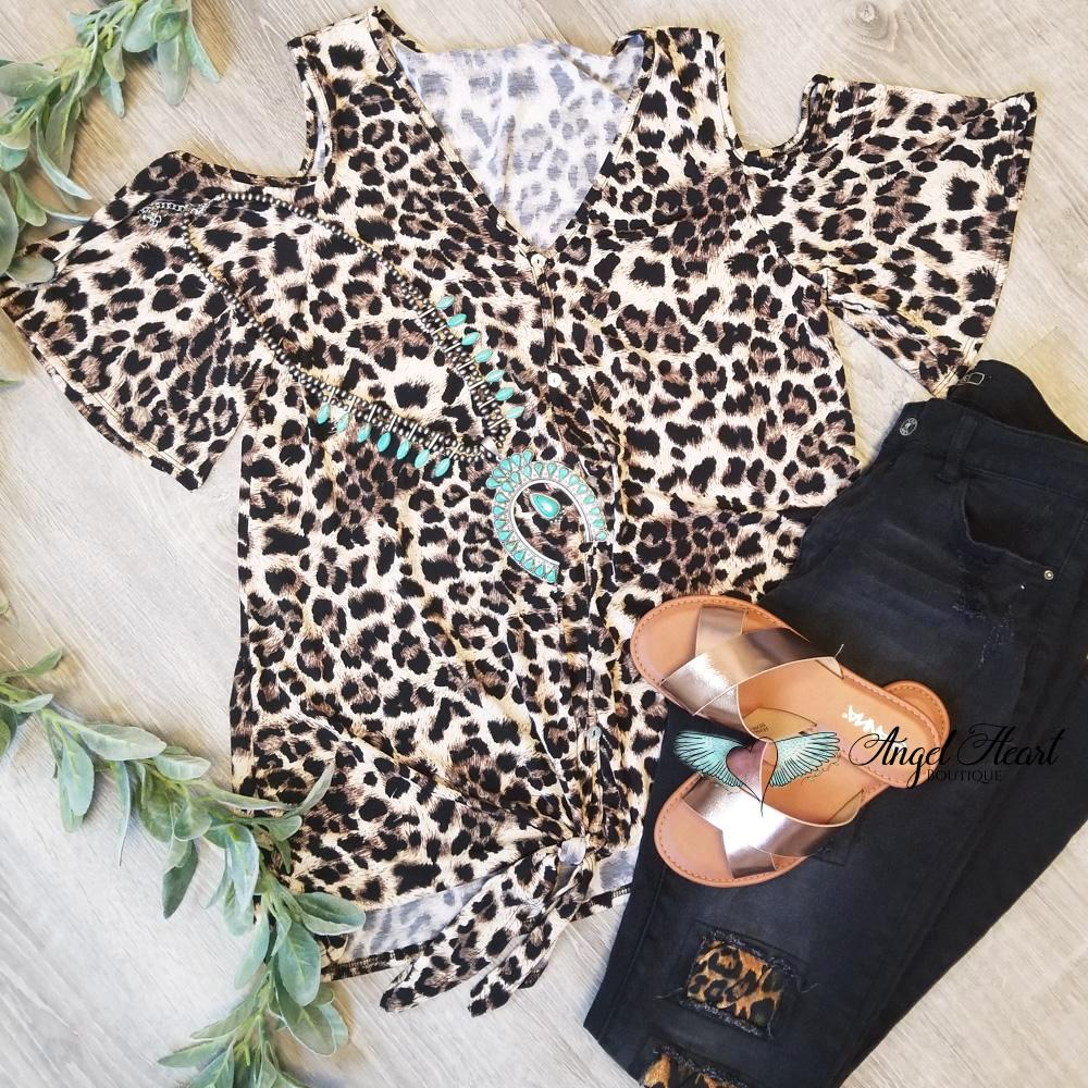 Nothing Like Before Knot Top - Leoprad [product type] - Angel Heart Boutique