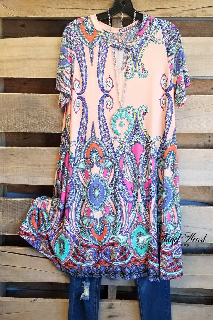 Looking At You Tunic - Peach [product type] - Angel Heart Boutique