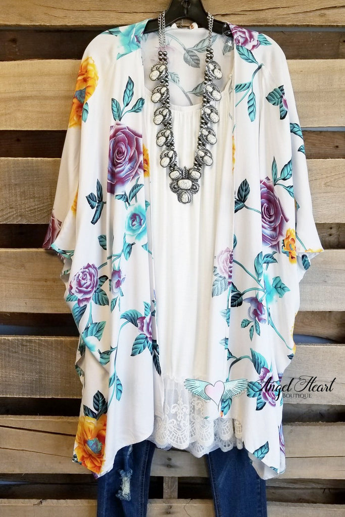 Let's Get Tropical Kimono - Ivory [product type] - Angel Heart Boutique