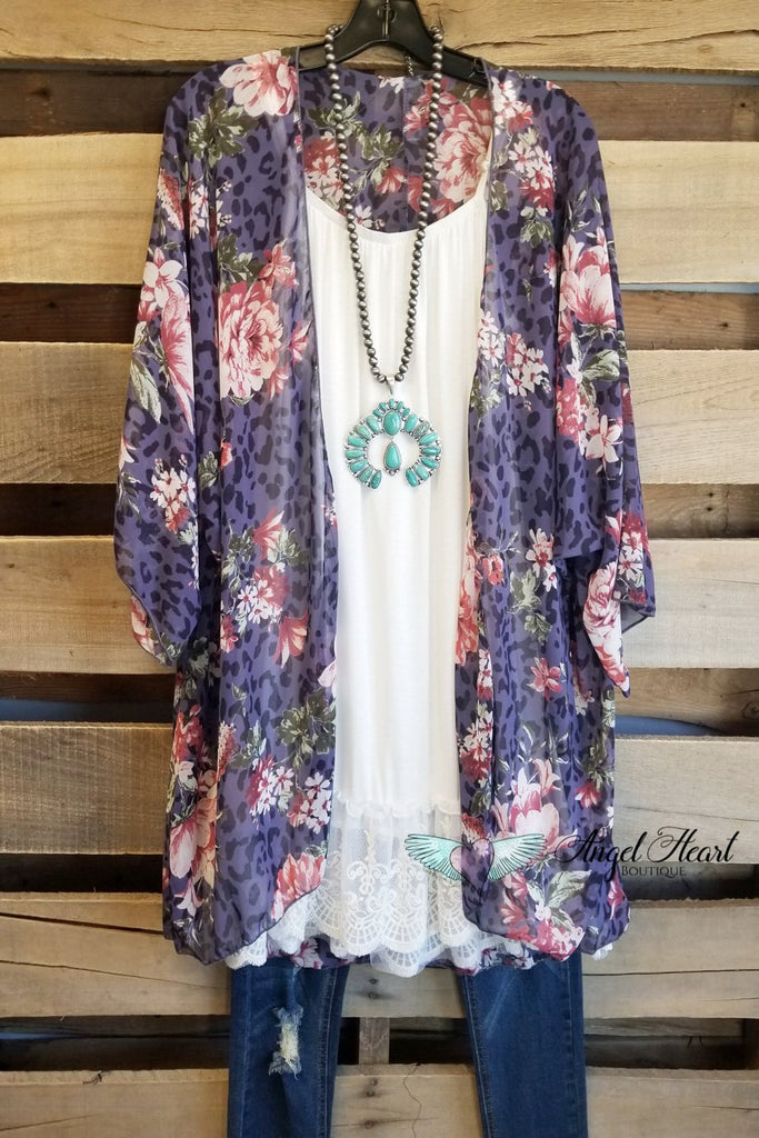 Bright Lights Kimono - Purple [product type] - Angel Heart Boutique