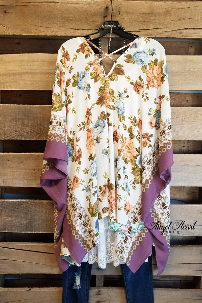Fond Memories Kimono - Off White Orchid [product type] - Angel Heart Boutique
