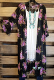 Les Hortences Long Duster Cardigan - Black/Violet [product type] - Angel Heart Boutique