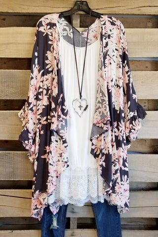Your Vibe Attracts Your Tribe Kimono - Grey