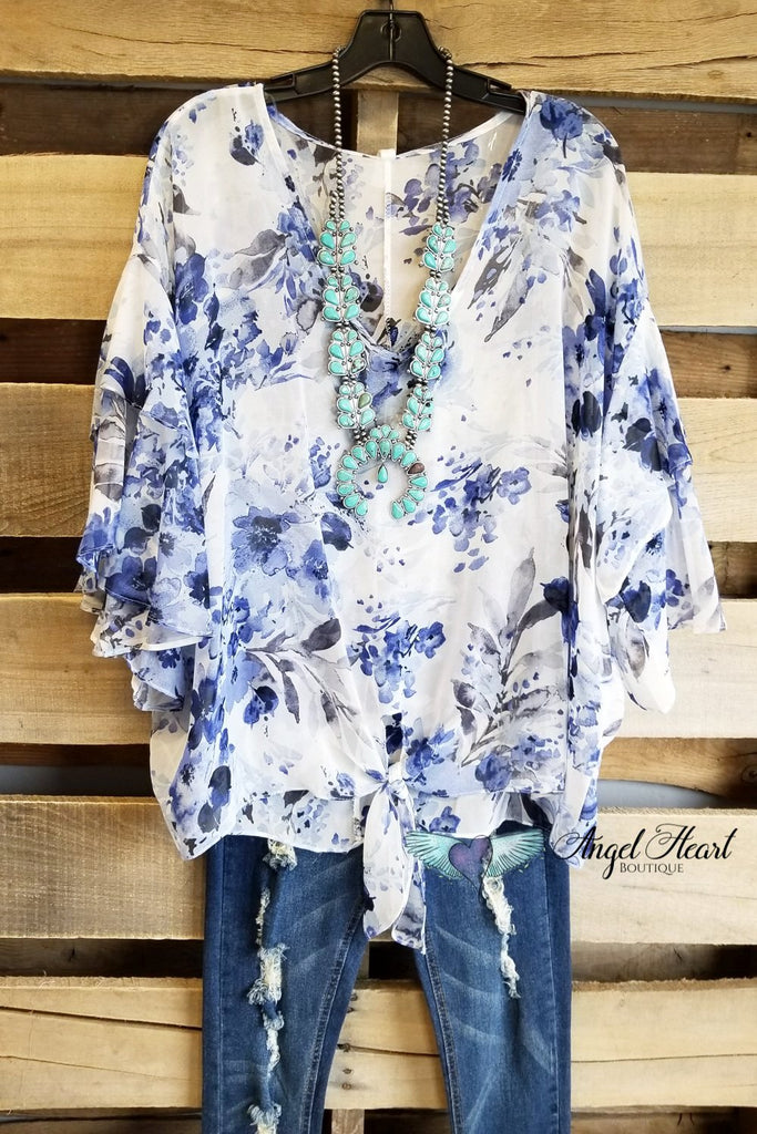 Casual Motivation Top - Ivory Blue [product type] - Angel Heart Boutique