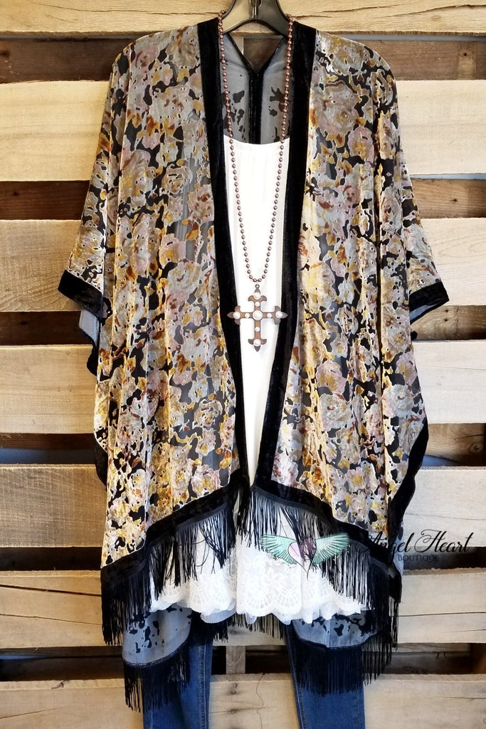 Cozy Feeling Burnout Velour With Fringe Kimono - Black Mustard [product type] - Angel Heart Boutique