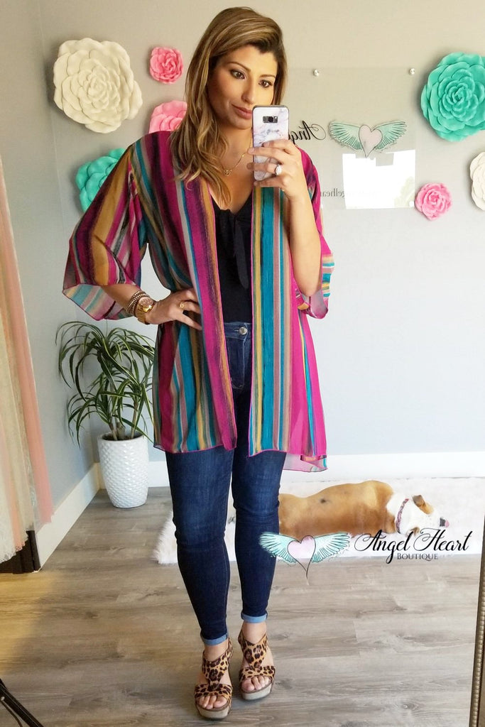 All the Feels Kimono - Pink Mix [product type] - Angel Heart Boutique