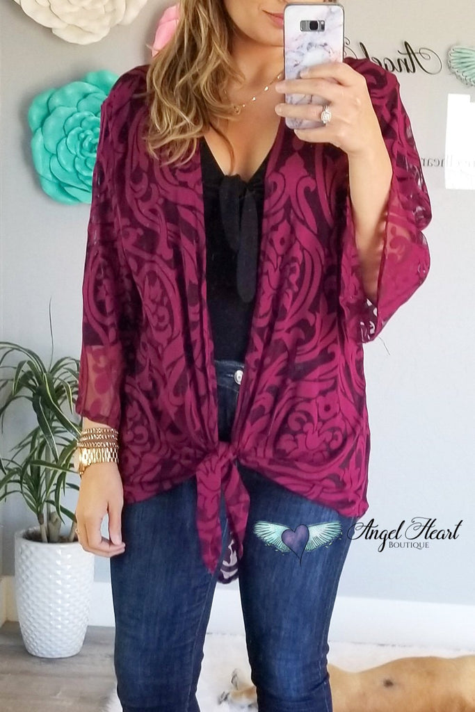 Let's Jet Set Cardigan - Burgundy