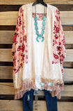Burnout Velvet and Fringe Kimono - Cream [product type] - Angel Heart Boutique
